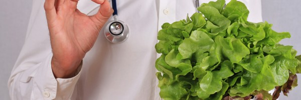 Doctor recommended green salad, health care concept